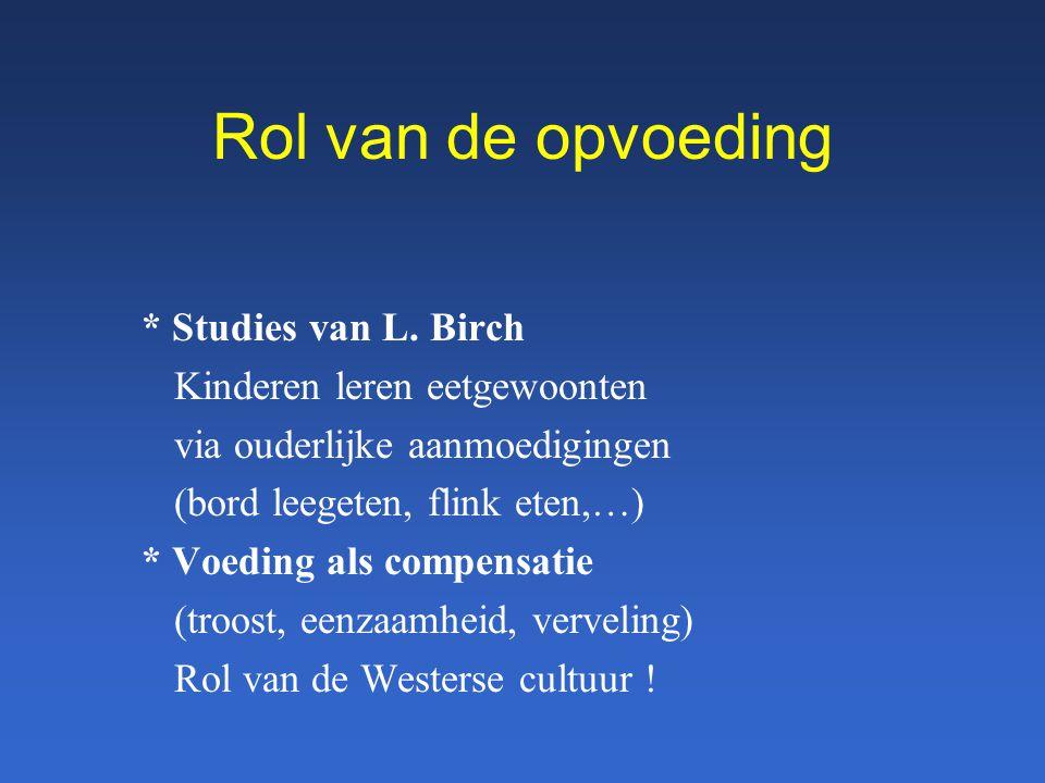 Rol van de opvoeding * Studies van L. Birch