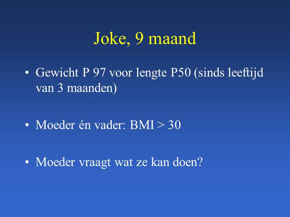 Joke, 9 maand Gewicht P 97 voor lengte P50 (sinds leeftijd van 3 maanden) Moeder én vader: BMI > 30.