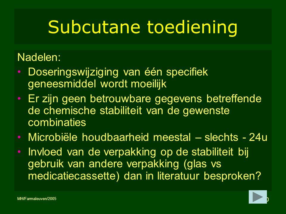 Subcutane toediening Nadelen: