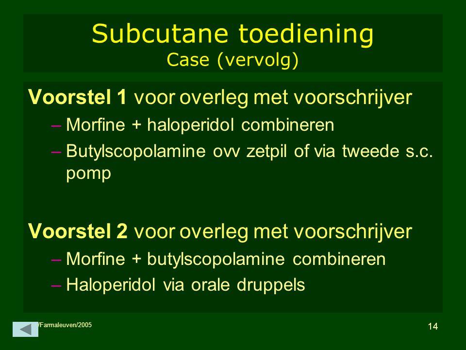 Subcutane toediening Case (vervolg)
