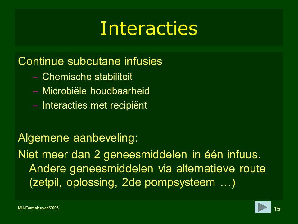 Interacties Continue subcutane infusies Algemene aanbeveling: