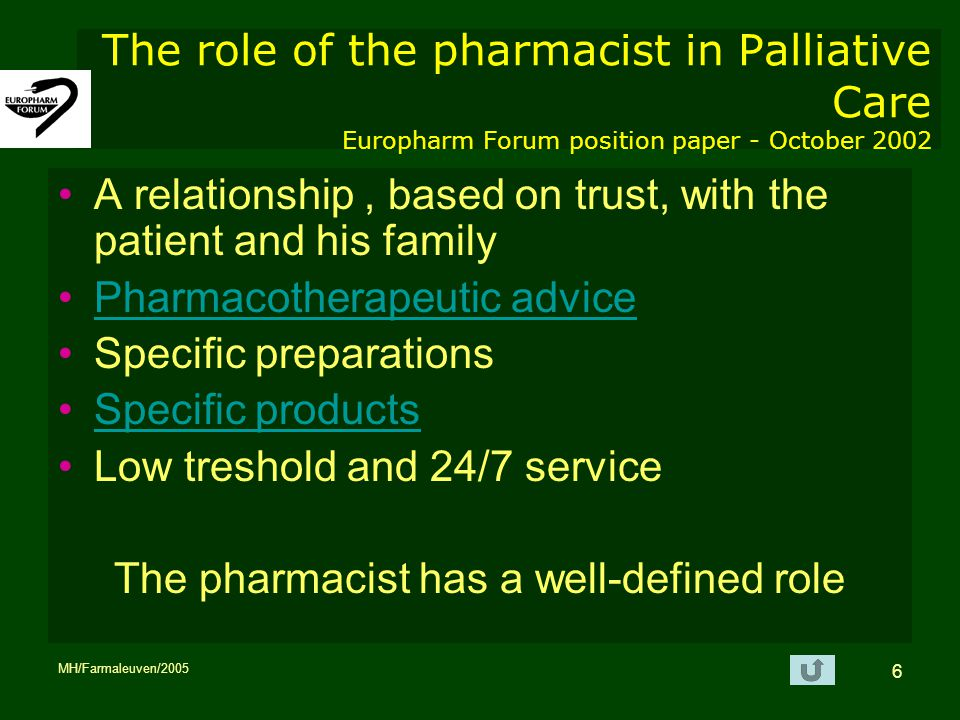 The pharmacist has a well-defined role