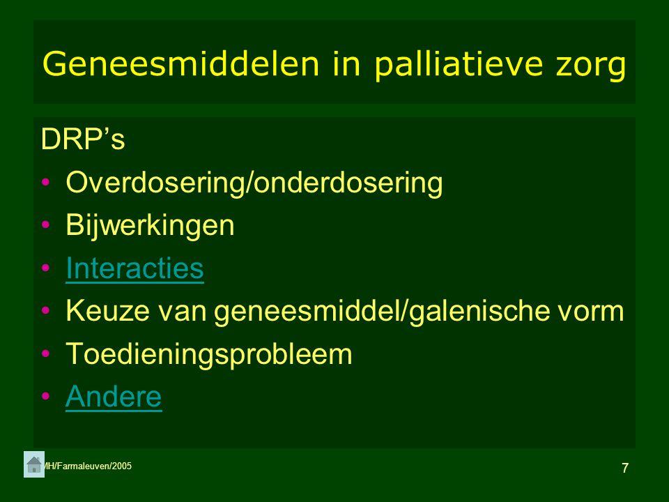 Geneesmiddelen in palliatieve zorg
