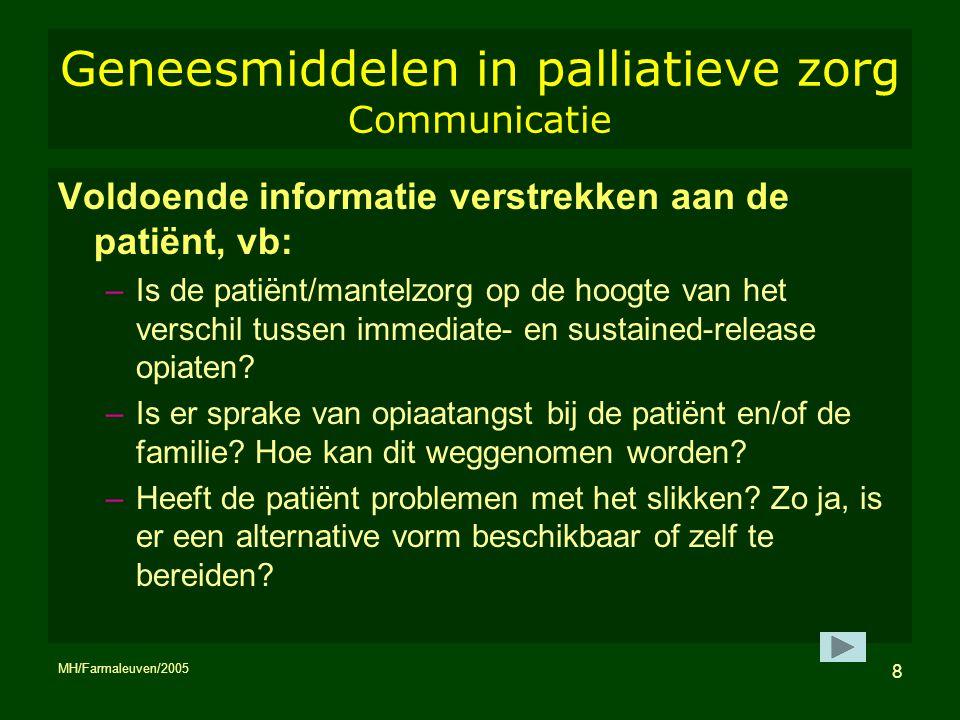 Geneesmiddelen in palliatieve zorg Communicatie
