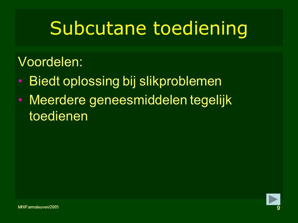 Subcutane toediening Voordelen: Biedt oplossing bij slikproblemen