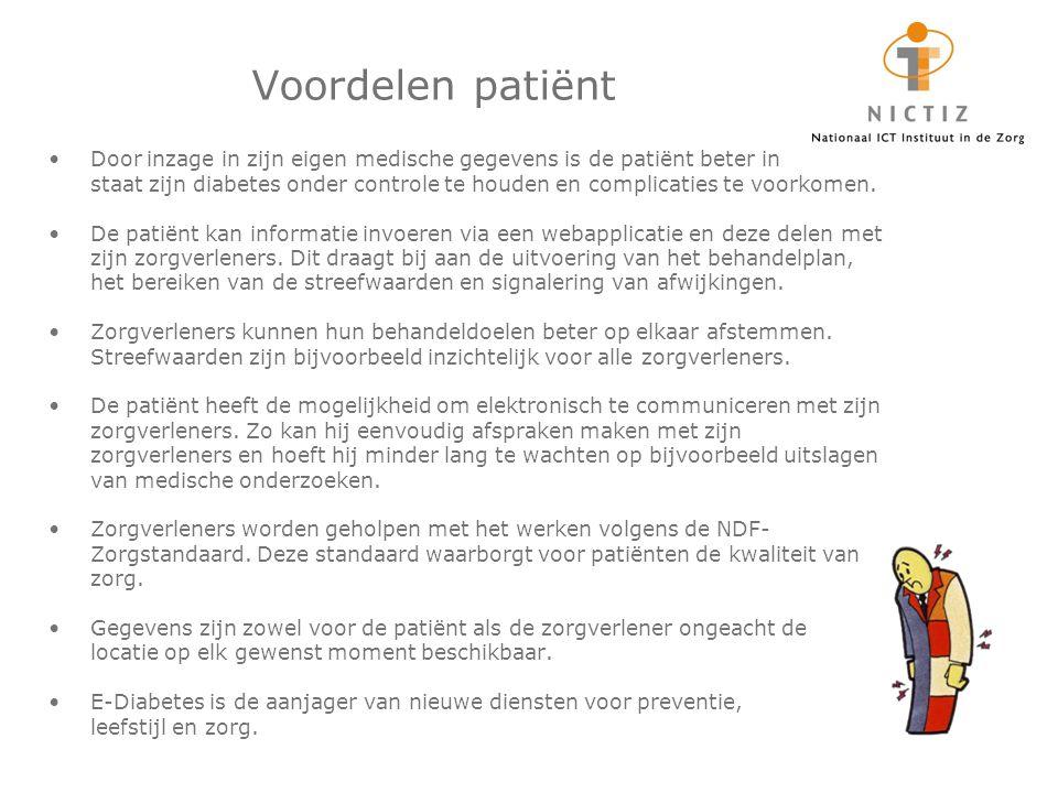 Voordelen patiënt Door inzage in zijn eigen medische gegevens is de patiënt beter in.