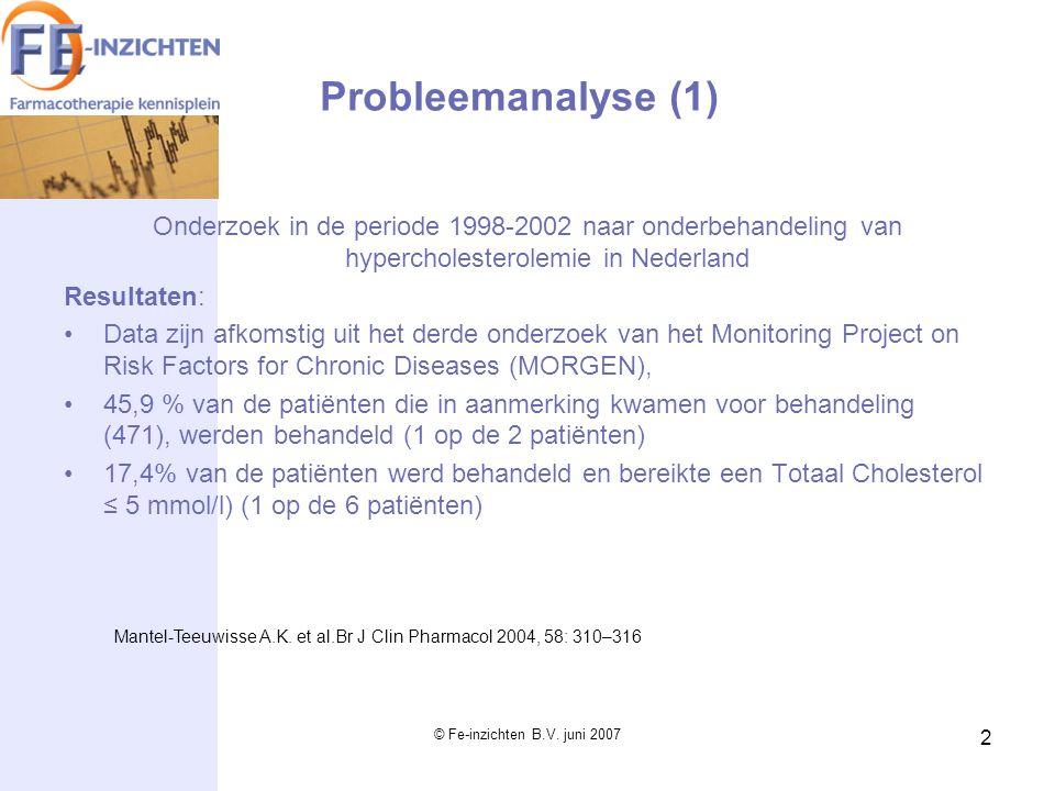 Probleemanalyse (1) Onderzoek in de periode 1998-2002 naar onderbehandeling van hypercholesterolemie in Nederland.