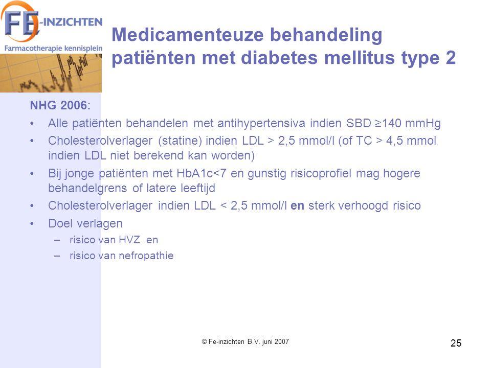 Medicamenteuze behandeling patiënten met diabetes mellitus type 2