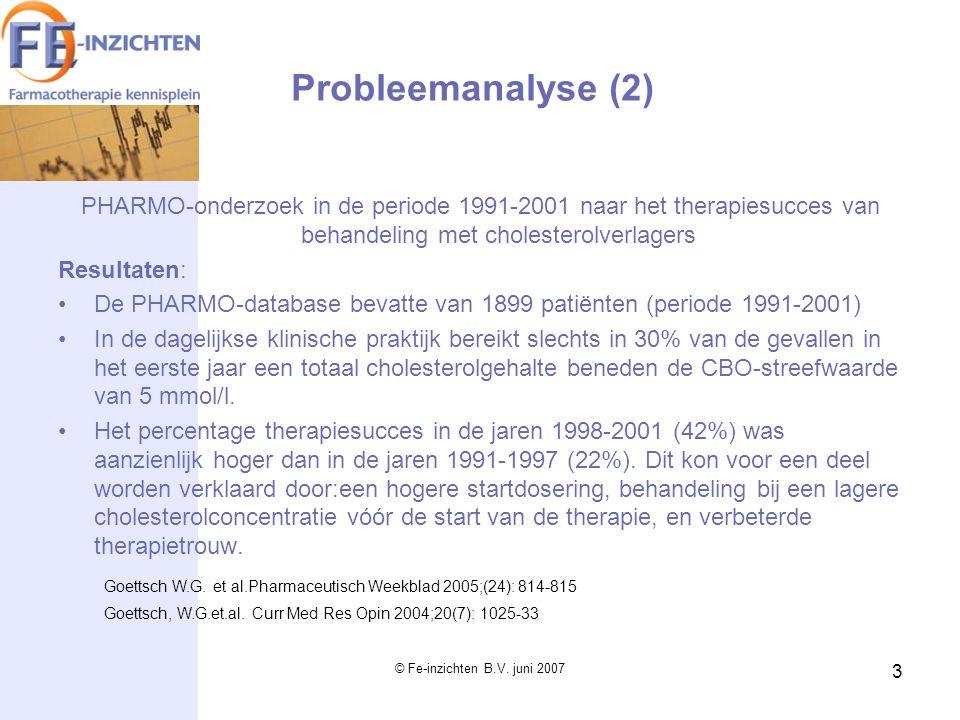 Probleemanalyse (2) PHARMO-onderzoek in de periode 1991-2001 naar het therapiesucces van behandeling met cholesterolverlagers.