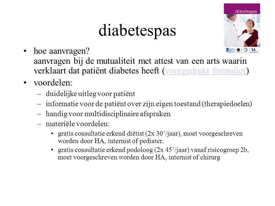 diabetespas hoe aanvragen aanvragen bij de mutualiteit met attest van een arts waarin verklaart dat patiënt diabetes heeft (voorgedrukt formulier)