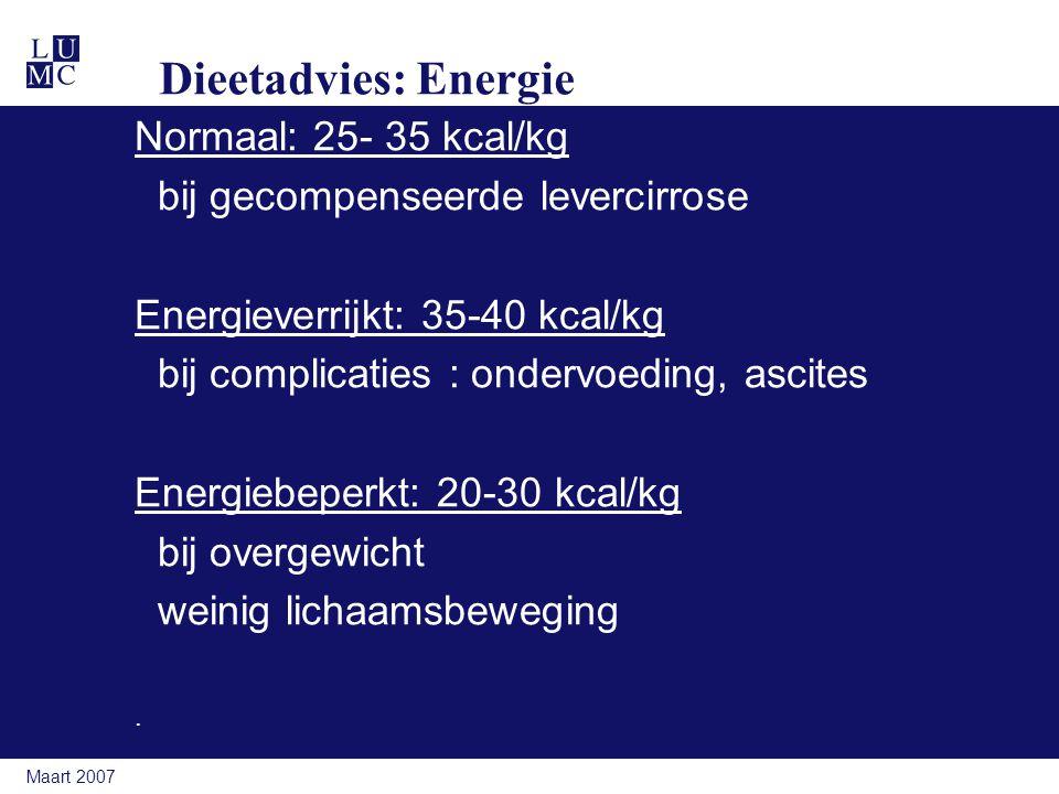 Dieetadvies: Energie Normaal: 25- 35 kcal/kg
