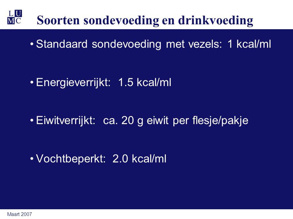 Soorten sondevoeding en drinkvoeding