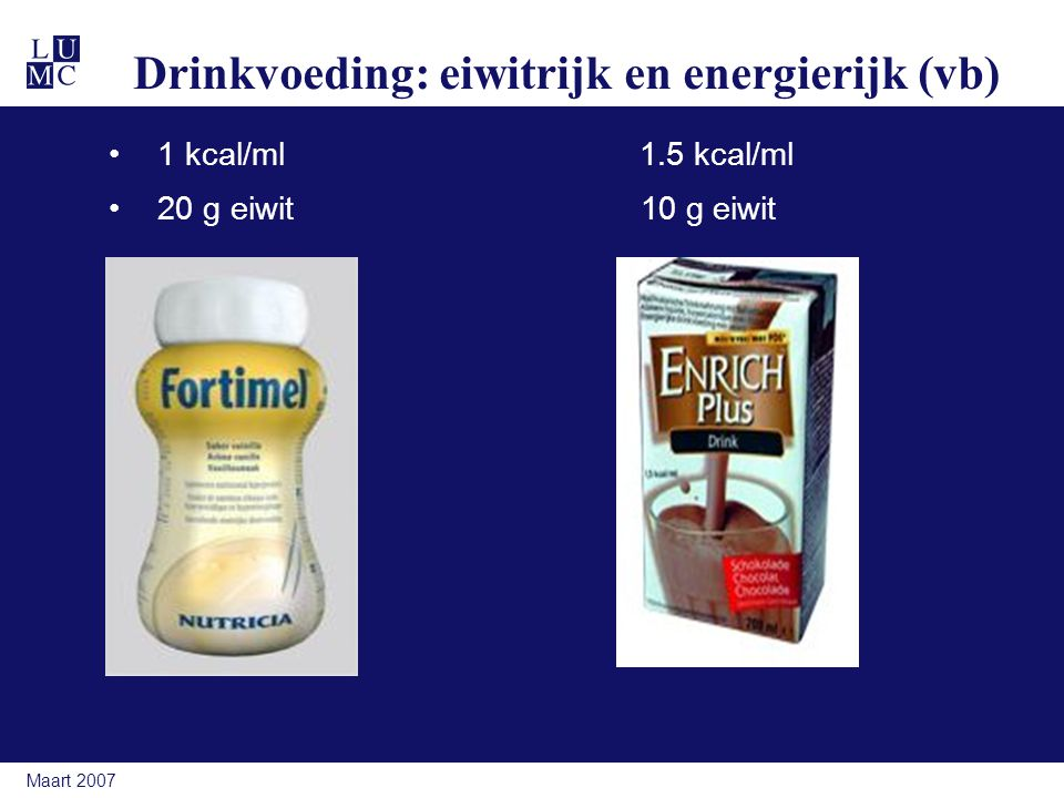 Drinkvoeding: eiwitrijk en energierijk (vb)