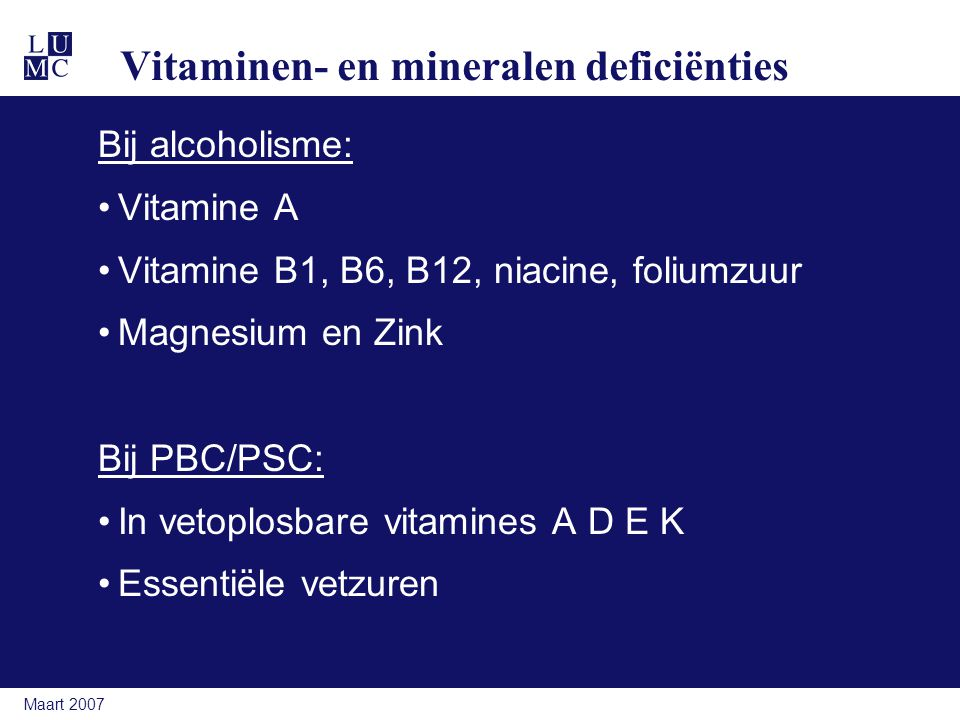 Vitaminen- en mineralen deficiënties