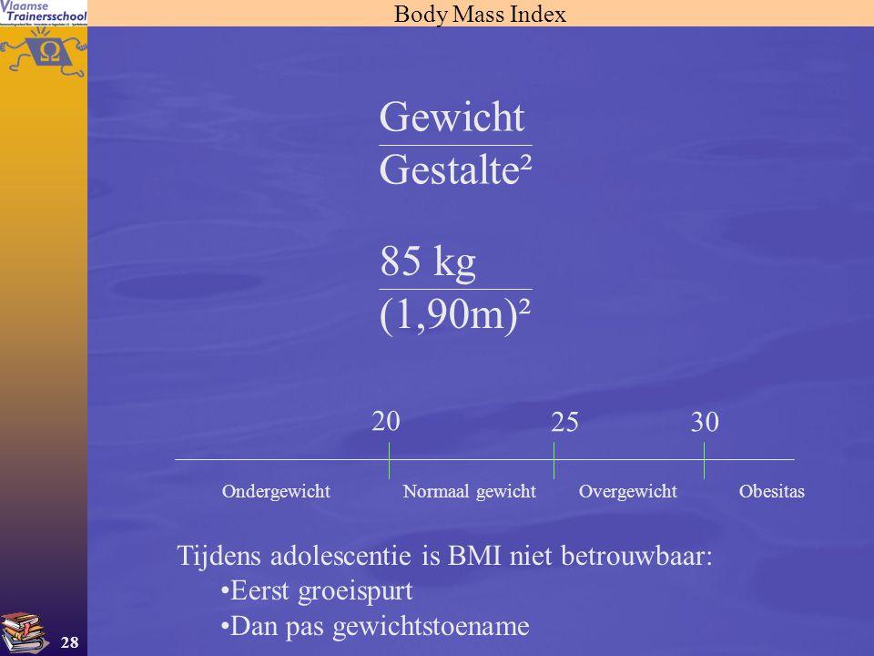 Gewicht Gestalte² 85 kg (1,90m)² 20 25 30