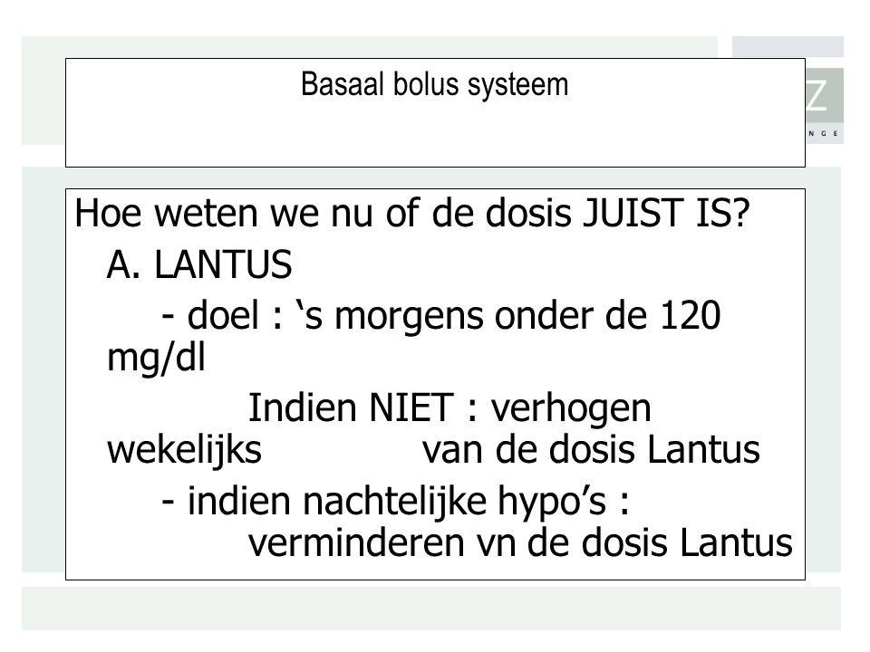 Hoe weten we nu of de dosis JUIST IS A. LANTUS