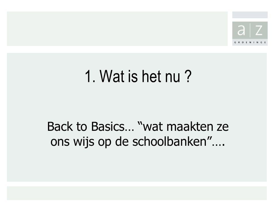 Back to Basics… wat maakten ze ons wijs op de schoolbanken ….