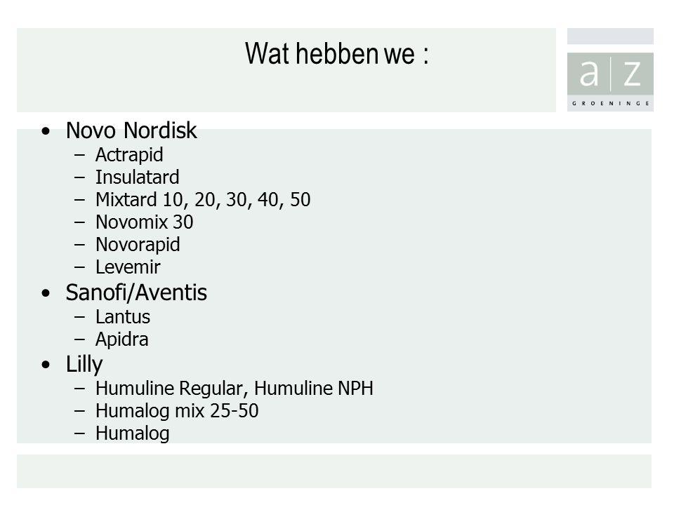 Wat hebben we : Novo Nordisk Sanofi/Aventis Lilly Actrapid Insulatard