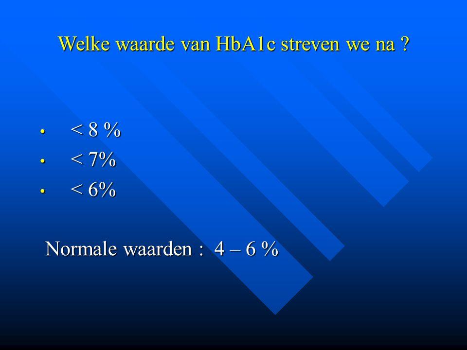 Welke waarde van HbA1c streven we na