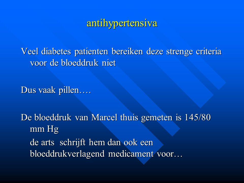 antihypertensiva Veel diabetes patienten bereiken deze strenge criteria voor de bloeddruk niet. Dus vaak pillen….