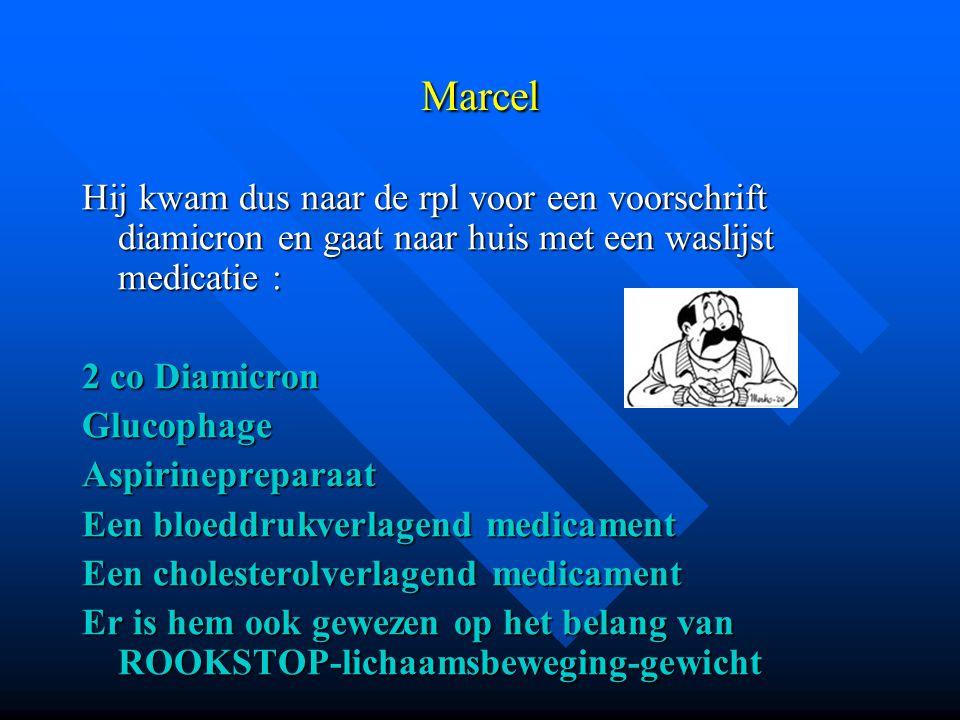 Marcel Hij kwam dus naar de rpl voor een voorschrift diamicron en gaat naar huis met een waslijst medicatie :