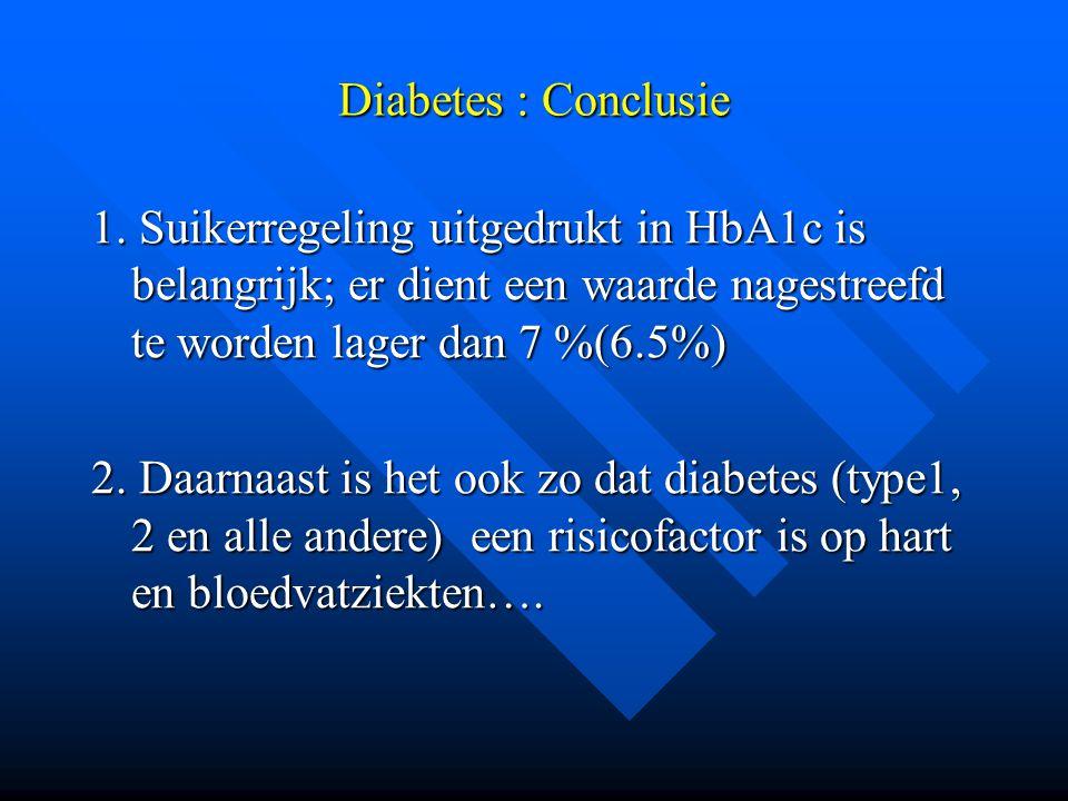 Diabetes : Conclusie 1. Suikerregeling uitgedrukt in HbA1c is belangrijk; er dient een waarde nagestreefd te worden lager dan 7 %(6.5%)