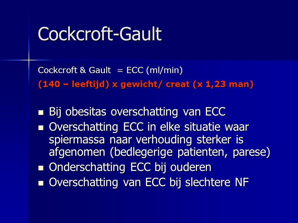 Cockcroft-Gault Bij obesitas overschatting van ECC