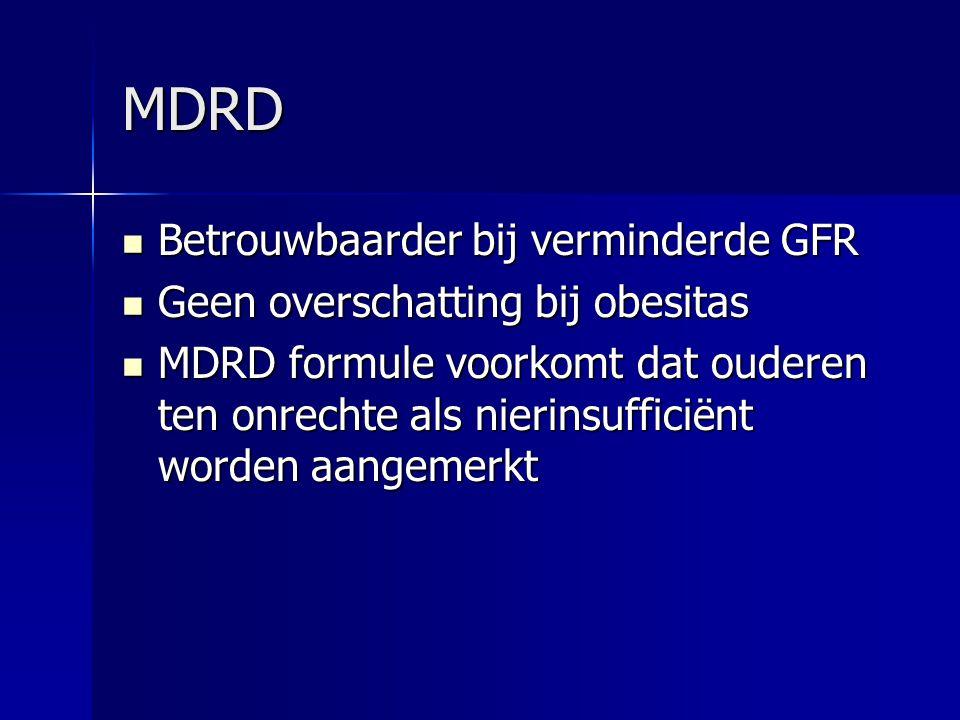 MDRD Betrouwbaarder bij verminderde GFR