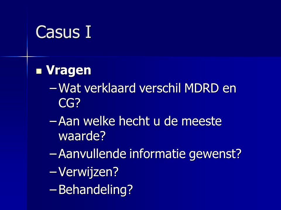 Casus I Vragen Wat verklaard verschil MDRD en CG