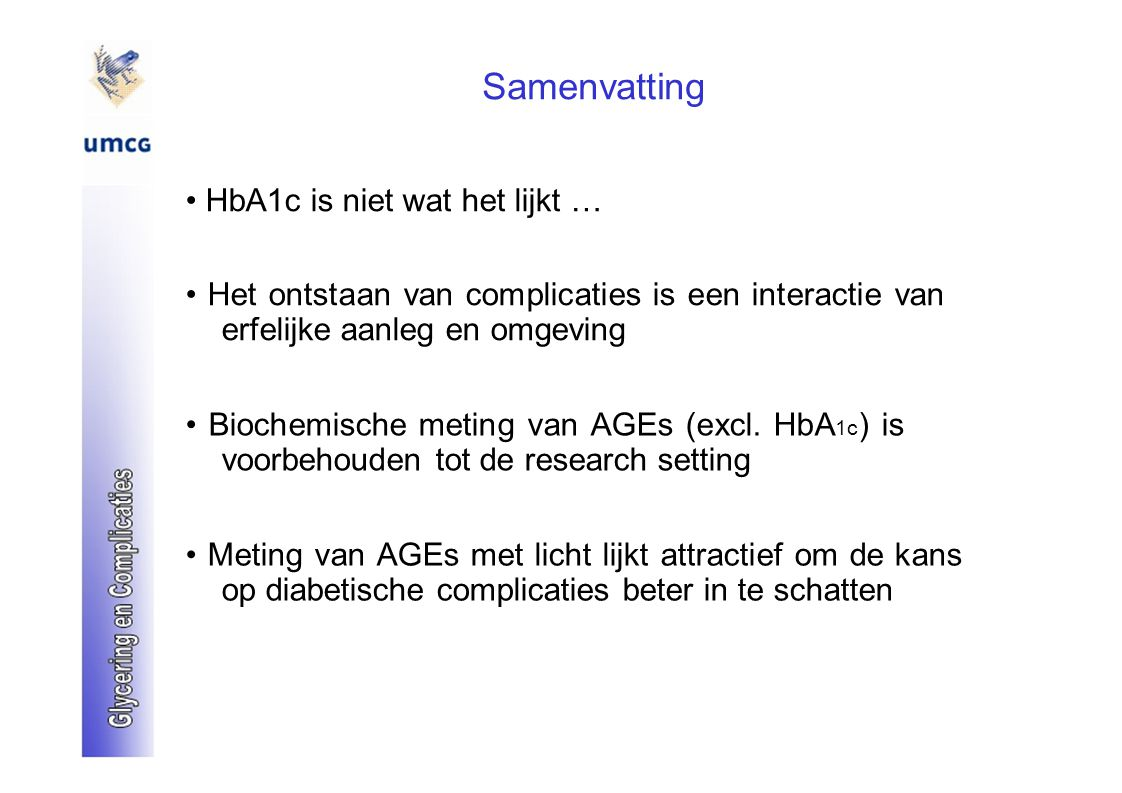 Samenvatting • HbA1c is niet wat het lijkt …