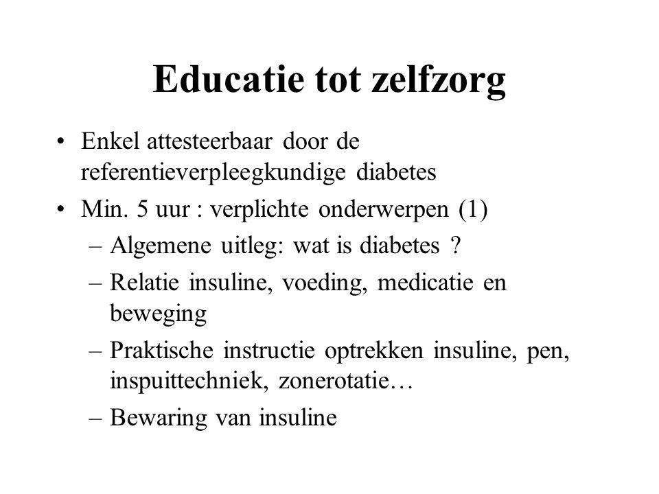 Educatie tot zelfzorg Enkel attesteerbaar door de referentieverpleegkundige diabetes. Min. 5 uur : verplichte onderwerpen (1)
