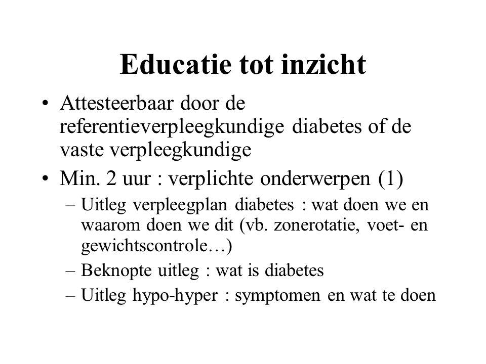 Educatie tot inzicht Attesteerbaar door de referentieverpleegkundige diabetes of de vaste verpleegkundige.