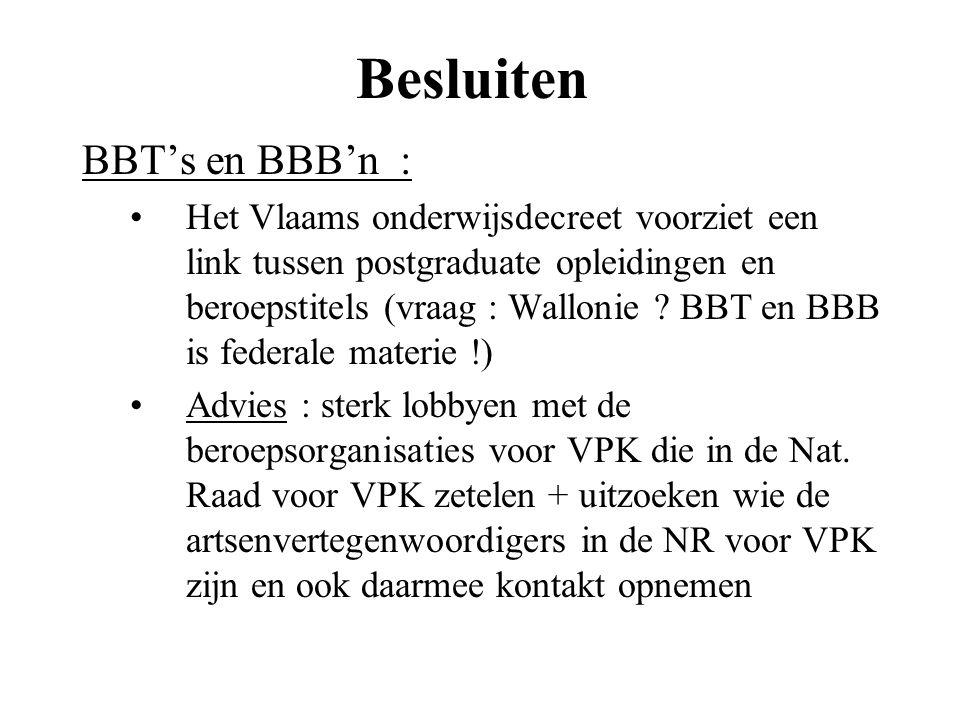 Besluiten BBT's en BBB'n :
