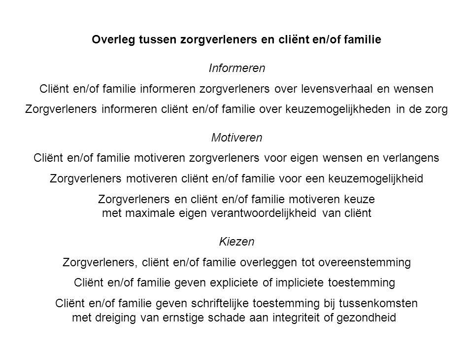 Overleg tussen zorgverleners en cliënt en/of familie