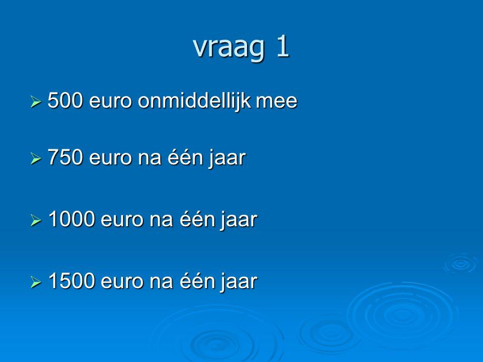 vraag 1 500 euro onmiddellijk mee 750 euro na één jaar