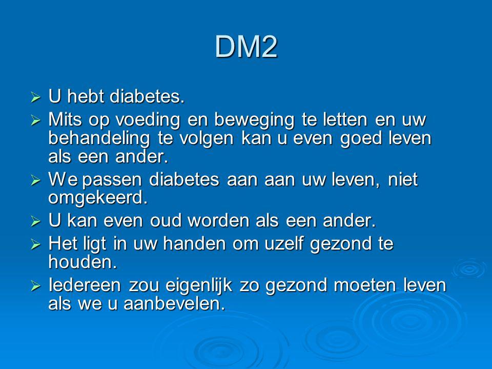 DM2 U hebt diabetes. Mits op voeding en beweging te letten en uw behandeling te volgen kan u even goed leven als een ander.