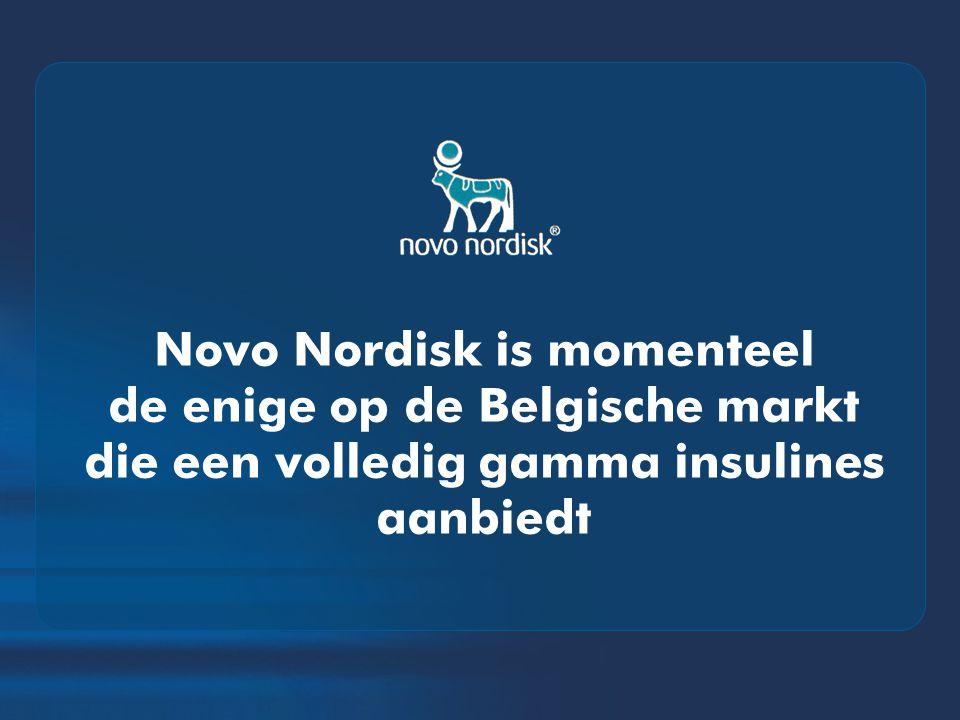 Novo Nordisk is momenteel de enige op de Belgische markt die een volledig gamma insulines aanbiedt