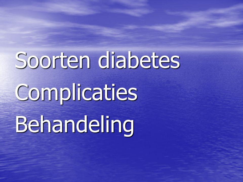 Soorten diabetes Complicaties Behandeling