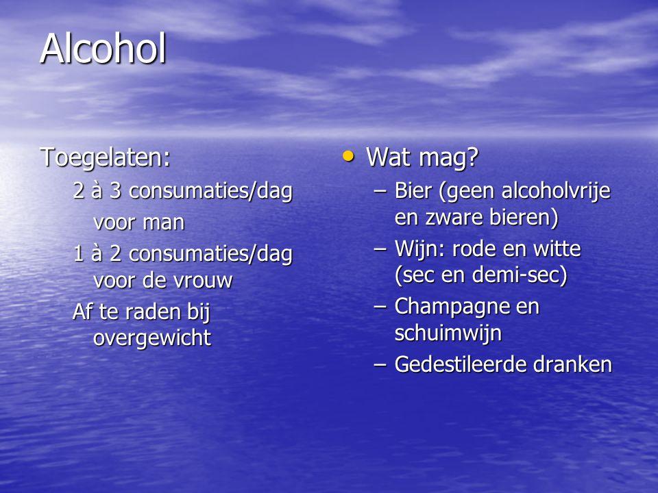 Alcohol Toegelaten: Wat mag 2 à 3 consumaties/dag voor man