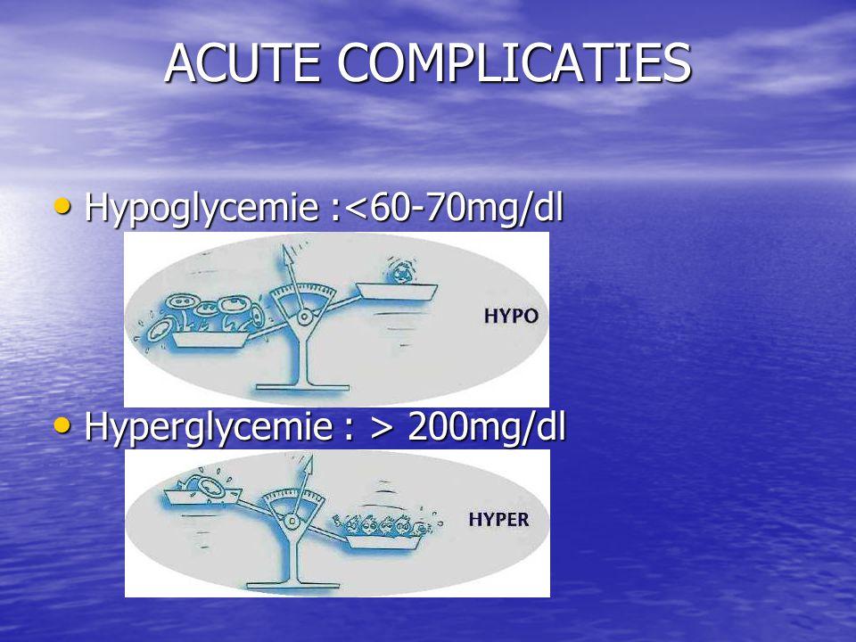 ACUTE COMPLICATIES Hypoglycemie :<60-70mg/dl
