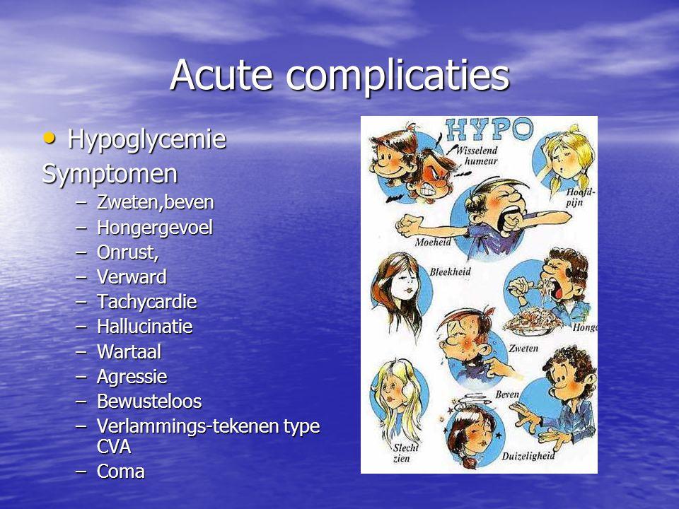 Acute complicaties Hypoglycemie Symptomen Zweten,beven Hongergevoel