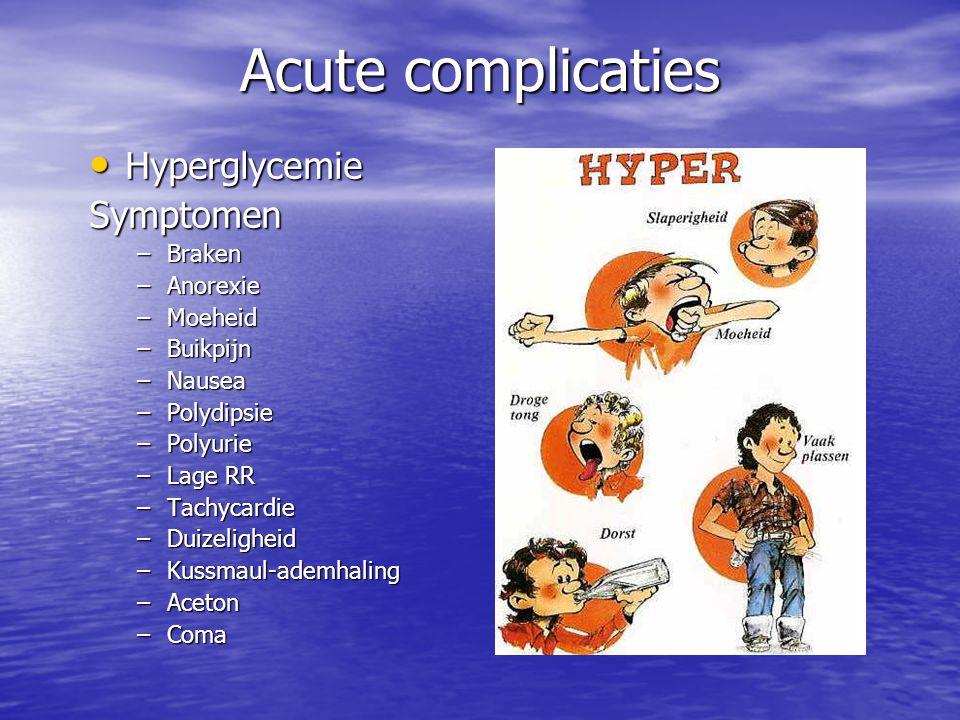 Acute complicaties Hyperglycemie Symptomen Braken Anorexie Moeheid