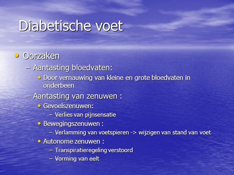 Diabetische voet Oorzaken Aantasting bloedvaten: