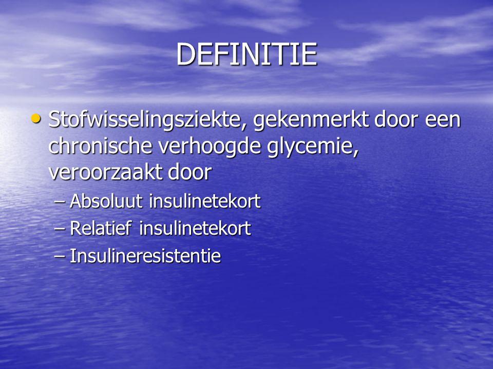 DEFINITIE Stofwisselingsziekte, gekenmerkt door een chronische verhoogde glycemie, veroorzaakt door.