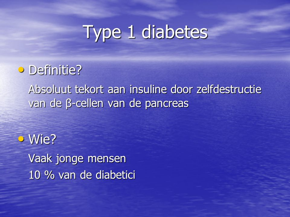 Type 1 diabetes Definitie