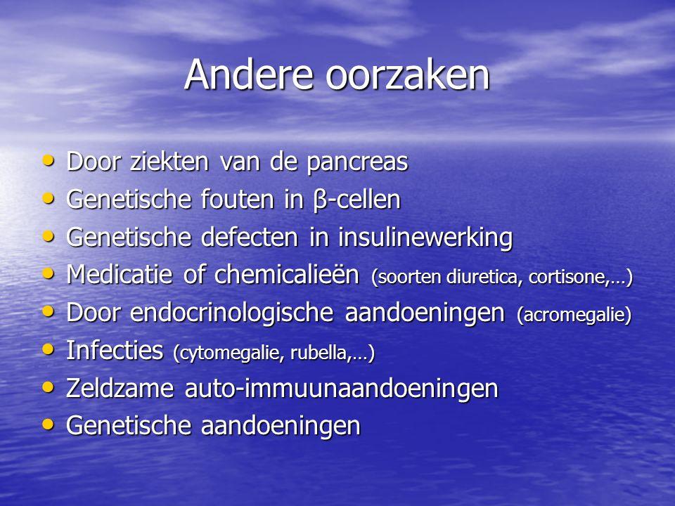 Andere oorzaken Door ziekten van de pancreas