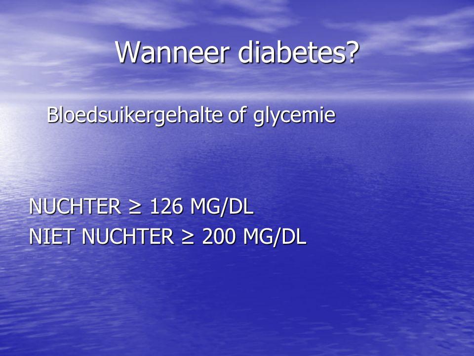 Wanneer diabetes Bloedsuikergehalte of glycemie NUCHTER ≥ 126 MG/DL