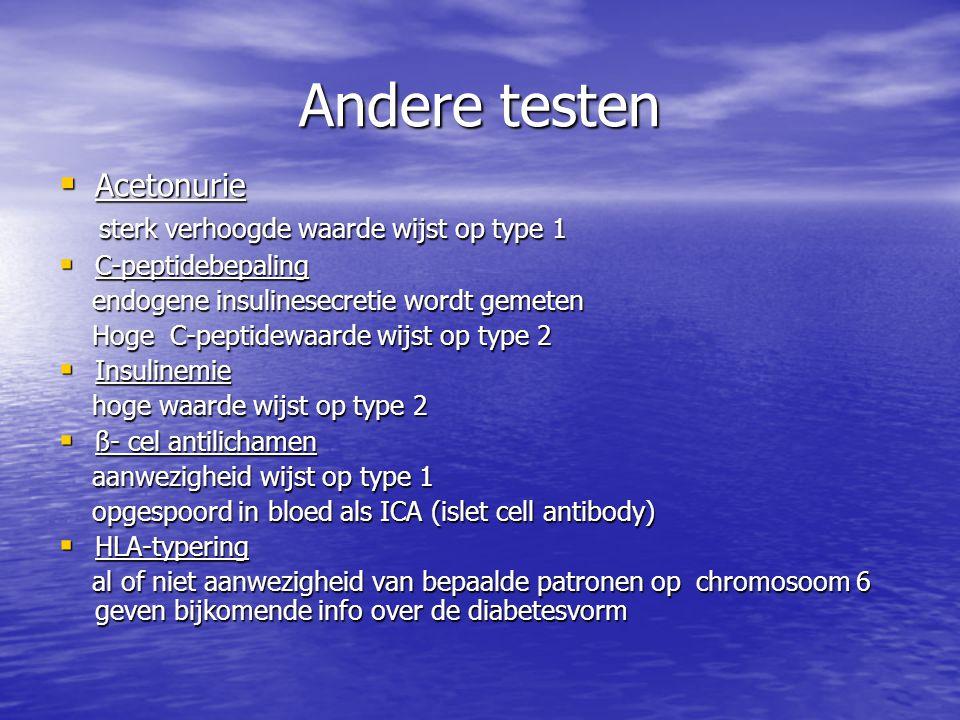 Andere testen Acetonurie sterk verhoogde waarde wijst op type 1