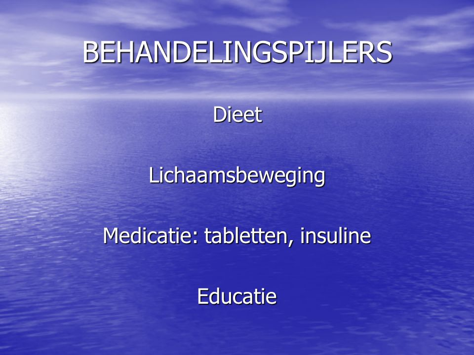 Medicatie: tabletten, insuline