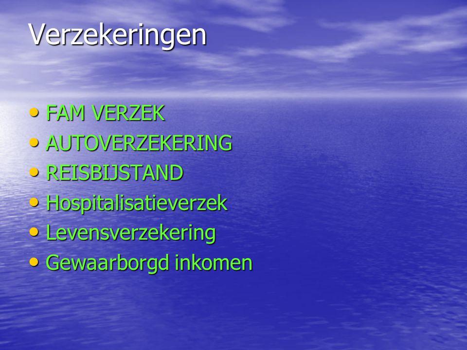 Verzekeringen FAM VERZEK AUTOVERZEKERING REISBIJSTAND